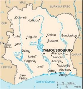 Ivory Coast kaart